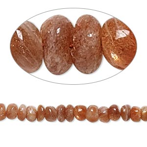 bead, sunstone (natural), 3x2mm-5x4mm hand-cut rondelle, c- grade, mohs hardness 6 to 6-1/2. sold per 14-inch strand.