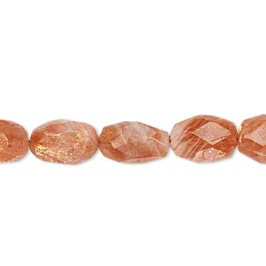 bead, sunstone (natural), 9x7mm-13x8mm hand-cut faceted puffed oval, c grade, mohs hardness 6 to 6-1/2. sold per 15-inch strand.