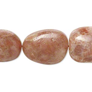 bead, sunstone (natural), large hand-cut nugget, mohs hardness 6 to 6-1/2. sold per 16-inch strand.