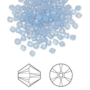 bead, swarovski crystals, air blue opal, 3mm xilion bicone (5328). sold per pkg of 144 (1 gross).