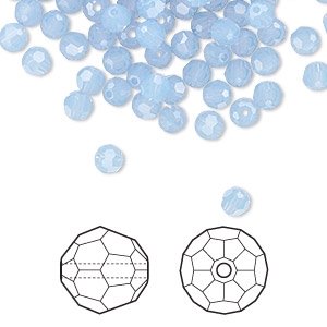 bead, swarovski crystals, air blue opal, 4mm faceted round (5000). sold per pkg of 12.