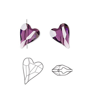 bead, swarovski crystals, amethyst, 12x10mm diagonally drilled faceted wild heart (5743). sold per pkg of 108.