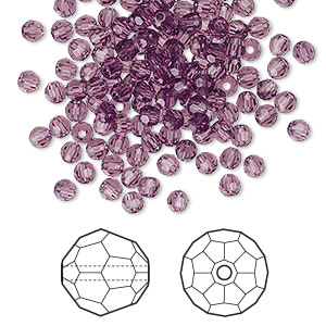 bead, swarovski crystals, amethyst, 3mm faceted round (5000). sold per pkg of 720 (5 gross).
