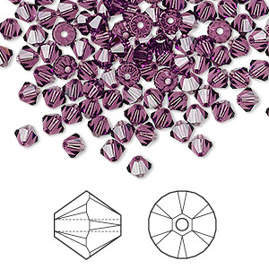 bead, swarovski crystals, amethyst, 4mm xilion bicone (5328). sold per pkg of 48.