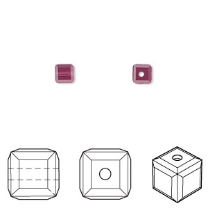 bead, swarovski crystals, amethyst, 4x4mm faceted cube (5601). sold per pkg of 48.