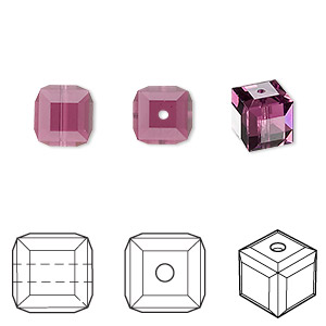 bead, swarovski crystals, amethyst, 8x8mm faceted cube (5601). sold per pkg of 6.