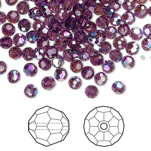 bead, swarovski crystals, amethyst ab, 4mm faceted round (5000). sold per pkg of 720 (5 gross).
