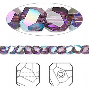 bead, swarovski crystals, amethyst ab, 4x4mm faceted graphic cube (5603). sold per pkg of 12.