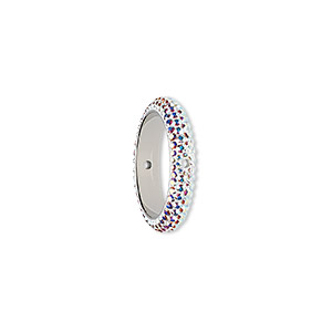 bead, swarovski crystals and epoxy, crystal ab and white, 18.5mm double-drilled pave thread ring (85001). sold per pkg of 6.
