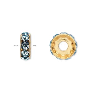 bead, swarovski crystals and gold-plated brass, crystal passions, aquamarine, 12x4.5mm becharmed rondelle with 4mm hole. sold per pkg of 48.