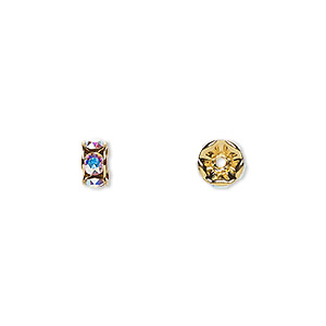 bead, swarovski crystals and gold-plated brass, crystal passions, crystal ab, 6x3.5mm rondelle (77506). sold per pkg of 48.