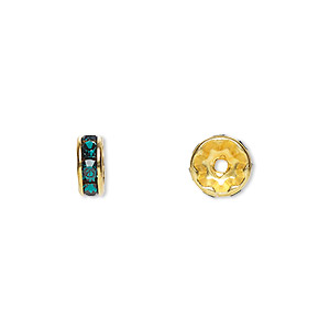bead, swarovski crystals and gold-plated brass, crystal passions, emerald, 8x3.5mm rondelle (77508). sold per pkg of 48.