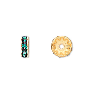 bead, swarovski crystals and gold-plated brass, crystal passions, emerald, 10x3.5mm rondelle (77510). sold per pkg of 48.