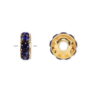 bead, swarovski crystals and gold-plated brass, crystal passions, purple velvet, 12x4.5mm becharmed rondelle with 4mm hole. sold per pkg of 48.