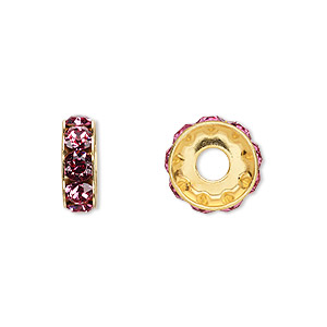 bead, swarovski crystals and gold-plated brass, crystal passions, rose, 12x4.5mm becharmed rondelle with 4mm hole. sold per pkg of 4.