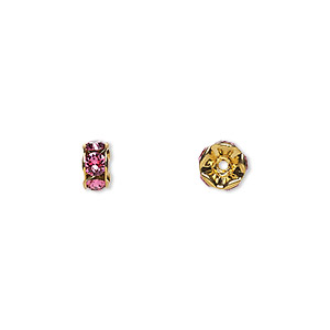 bead, swarovski crystals and gold-plated brass, crystal passions, rose, 6x3.5mm rondelle (77506). sold per pkg of 48.