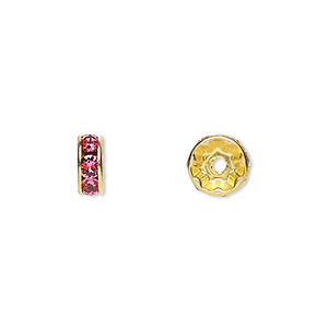 bead, swarovski crystals and gold-plated brass, crystal passions, rose, 8x3.5mm rondelle (77508). sold per pkg of 144 (1 gross).