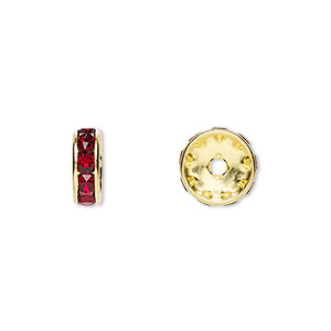 bead, swarovski crystals and gold-plated brass, crystal passions, siam, 10x3.5mm rondelle (77510). sold per pkg of 144 (1 gross).