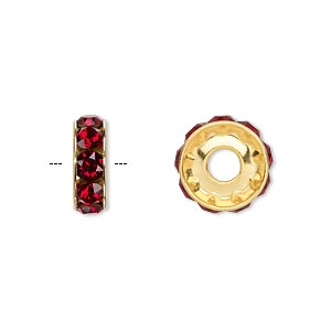 bead, swarovski crystals and gold-plated brass, crystal passions, siam, 12x4.5mm becharmed rondelle with 4mm hole. sold per pkg of 48.