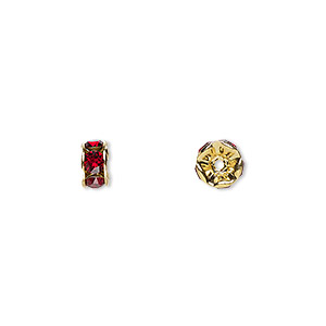 bead, swarovski crystals and gold-plated brass, crystal passions, siam, 6x3.5mm rondelle (77506). sold per pkg of 4.