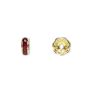 bead, swarovski crystals and gold-plated brass, crystal passions, siam, 8x3.5mm rondelle (77508). sold per pkg of 4.