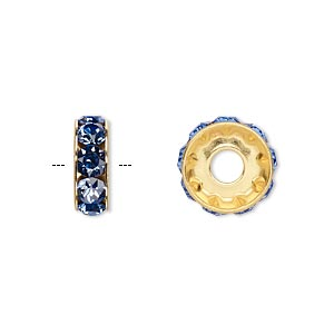 bead, swarovski crystals and gold-plated brass, sapphire, 12x4.5mm becharmed rondelle with 4mm hole. sold per pkg of 144 (1 gross).