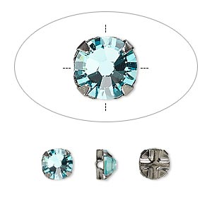 bead, swarovski crystals and gunmetal-plated pewter (tin-based alloy), crystal passions, light turquoise, 6.32-6.5mm rose montees, ss30. sold per pkg of 24.