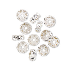 bde22d3724b Bead, Swarovski® crystals and plastic, crystal clear and transparent clear,  7x3mm mini rondelle. Sold per pkg of 12.