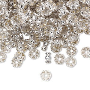 bead, swarovski crystals and plastic, crystal passions, crystal clear and transparent clear, 5x2.5mm mini rondelle. sold per pkg of 144 (1 gross).