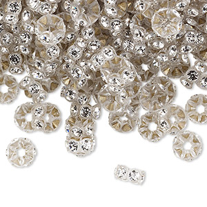 bead, swarovski crystals and plastic, crystal passions, crystal clear and transparent clear, 6x3mm mini rondelle. sold per pkg of 144 (1 gross).