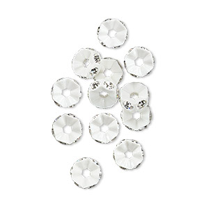 bead, swarovski crystals and plastic, crystal passions, crystal clear and white, 6x3mm mini rondelle. sold per pkg of 12.