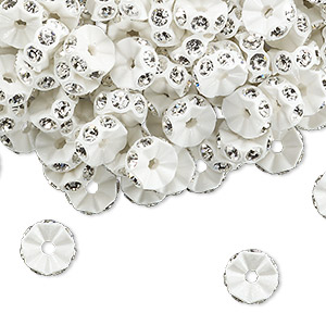 bead, swarovski crystals and plastic, crystal passions, crystal clear and white, 7x3mm mini rondelle. sold per pkg of 144 (1 gross).