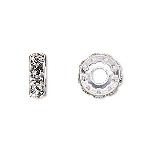bead, swarovski crystals and rhodium-plated brass, crystal clear, 12x4.5mm becharmed rondelle with 4mm hole (77512). sold per pkg of 144 (1 gross).