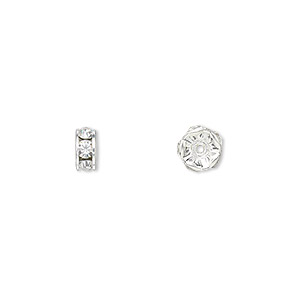 bead, swarovski crystals and rhodium-plated brass, crystal clear, 6x3.5mm rondelle (77506). sold per pkg of 144 (1 gross).