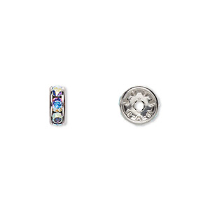 bead, swarovski crystals and rhodium-plated brass, crystal passions, crystal ab, 8x3.5mm rondelle (77508). sold per pkg of 48.