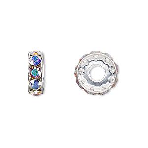 bead, swarovski crystals and rhodium-plated brass, crystal passions, crystal ab, 12x4.5mm becharmed rondelle with 4mm hole (77512). sold per pkg of 4.