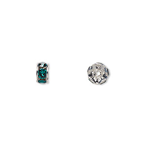 bead, swarovski crystals and rhodium-plated brass, crystal passions, emerald, 6x3.5mm rondelle (77506). sold per pkg of 48.