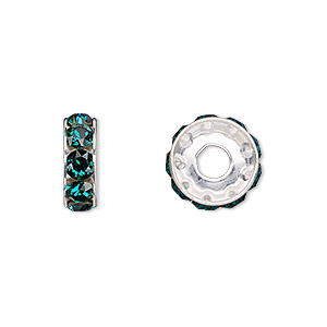 bead, swarovski crystals and rhodium-plated brass, crystal passions, emerald, 12x4.5mm becharmed rondelle with 4mm hole (77512). sold per pkg of 4.