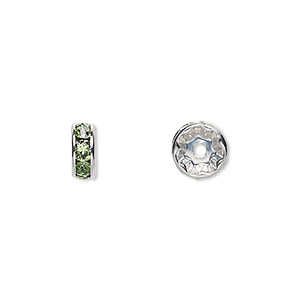 bead, swarovski crystals and rhodium-plated brass, crystal passions, peridot, 8x3.5mm rondelle (77508). sold per pkg of 48.