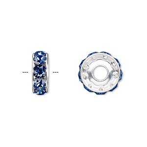 bead, swarovski crystals and rhodium-plated brass, crystal passions, sapphire, 12x4.5mm becharmed rondelle with 4mm hole (77512). sold per pkg of 4.