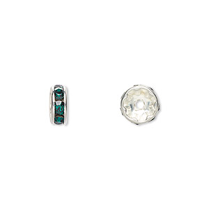 bead, swarovski crystals and silver-plated brass, crystal passions, emerald, 8x3.5mm rondelle (77508). sold per pkg of 144 (1 gross).