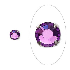 bead, swarovski crystals and silver-plated pewter (tin-based alloy), amethyst, 6.32-6.5mm rose montees (53103), ss30. sold per pkg of 720 (5 gross).
