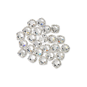 bead, swarovski crystals and silver-plated pewter (tin-based alloy), crystal passions, crystal clear, 3.8-4mm rose montees with 0.75-0.85mm hole (53102), ss16. sold per pkg of 24.