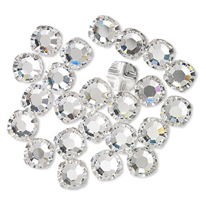 bead, swarovski crystals and silver-plated pewter (tin-based alloy), crystal passions, crystal clear, 6.32-6.5mm rose montees (53103), ss30. sold per pkg of 24.