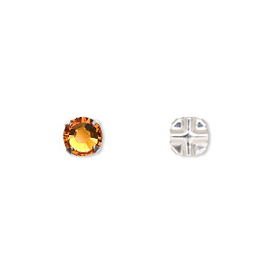 bead, swarovski crystals and silver-plated pewter (tin-based alloy), crystal passions, topaz, 6.32-6.5mm rose montees (53100), ss30. sold per pkg of 24.
