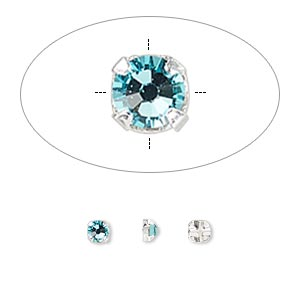 bead, swarovski crystals and silver-plated pewter (tin-based alloy), crystal passions, light turquoise, 3-3.2mm rose montees with 0.4-0.6mm hole (53100), ss12. sold per pkg of 24.