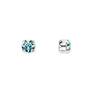 bead, swarovski crystals and silver-plated pewter (tin-based alloy), crystal passions, light turquoise, 6.14-6.32mm chaton montees with 0.95mm hole (53203), ss29. sold per pkg of 24.