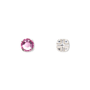 bead, swarovski crystals and silver-plated pewter (tin-based alloy), rose, 6.32-6.5mm rose montees (53103), ss30. sold per pkg of 720 (5 gross).