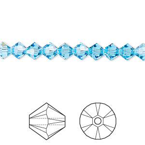 bead, swarovski crystals, aquamarine, 5mm xilion bicone (5328). sold per pkg of 720 (5 gross).