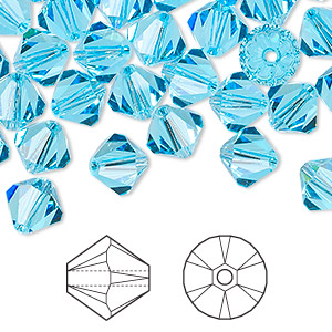 bead, swarovski crystals, aquamarine, 8mm xilion bicone (5328). sold per pkg of 12.
